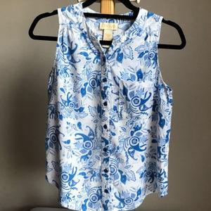 blue & white sleeveless button down top S